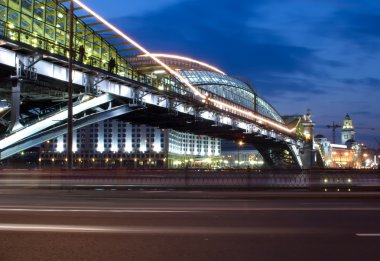 Night view bridge in the Moscow