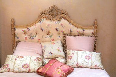 Bed and pillows