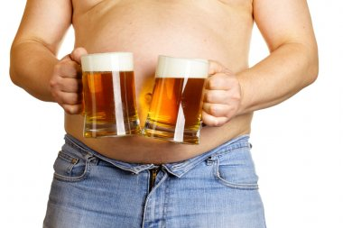 Man with two beer mugs