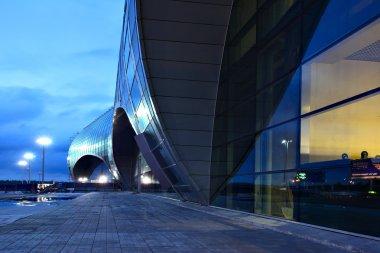 Fasade of Domodedovo airport at sunrise.
