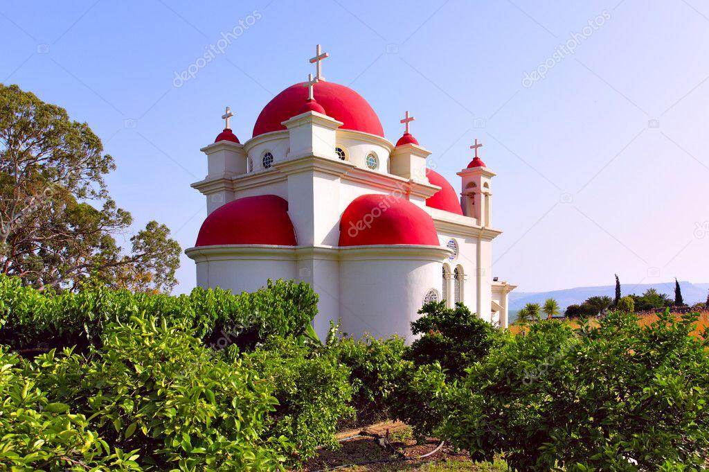 Greek Ortodox Church of the Seven Apostles in Capernaum. Israel