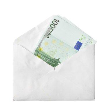 Euro banknotes in envelope