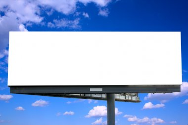 Blank billboard against blue sky, put your own text here stock vector