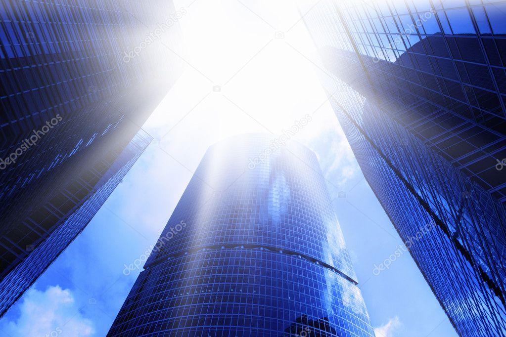 Skyscrapers and sun glare