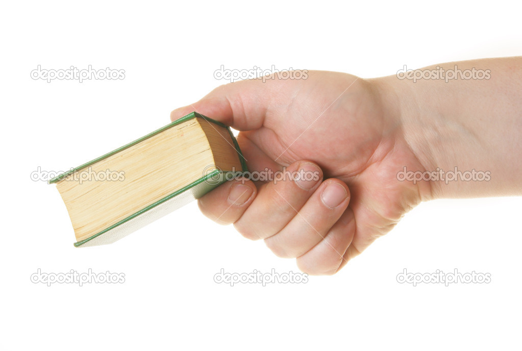 Hand giving book isolated over white background