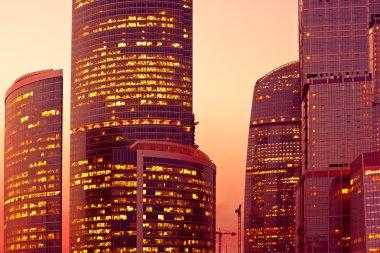 Sunset light on modern skyscrapers