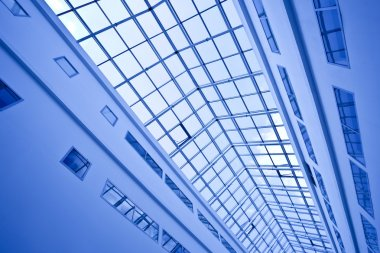 View to crop of blue ceiling trade cente