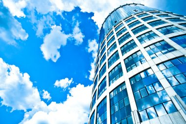 Blue modern office skyscraper
