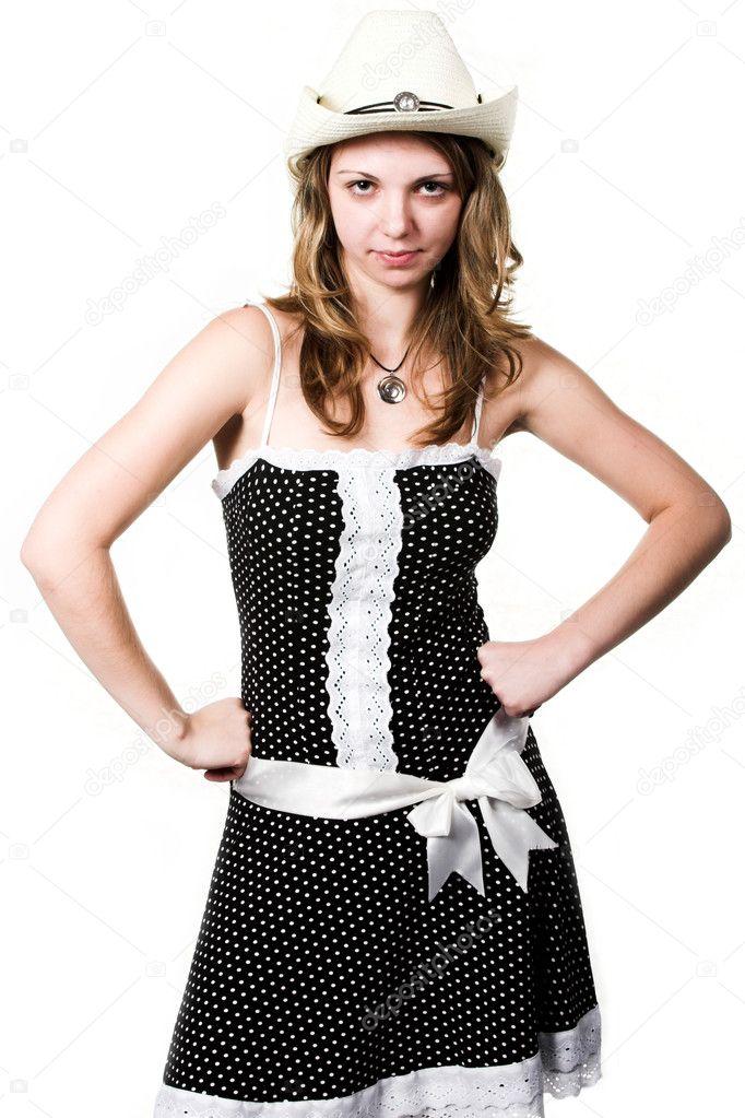 c06fa25f0 Camarera en vestido manchado y stetson en blanco — Foto de ...