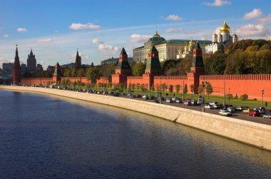 Kremlin wall and blue Moskva river