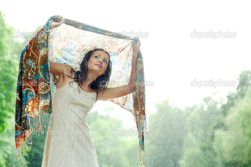 Girl stay under rain drops