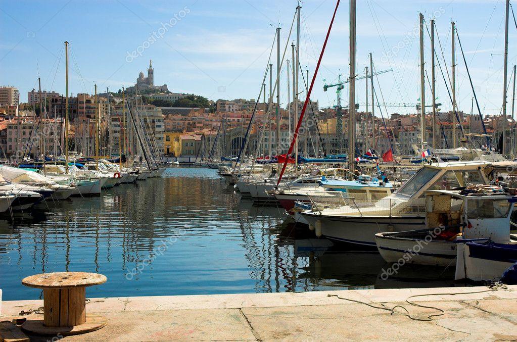 Vessel yachts in Vieux port in Marseille