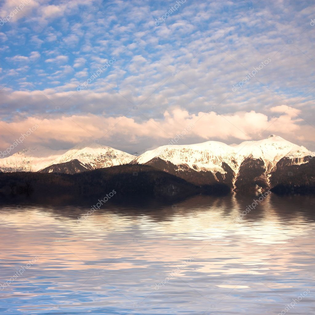 Rocky mountain landscape near the lake