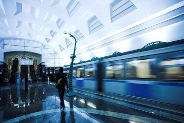 Train on underground station