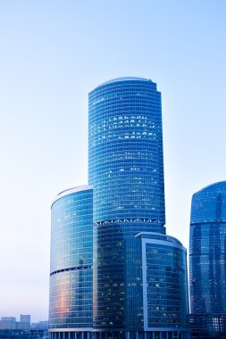 Blue modern skyscrapers in business centre in Moscow, Russia stock vector