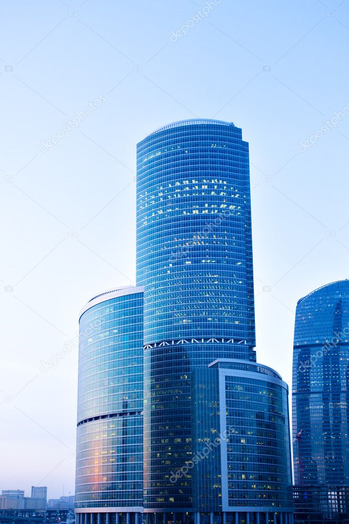 Blue modern skyscrapers