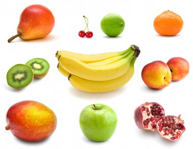 Fruits on white background stock vector