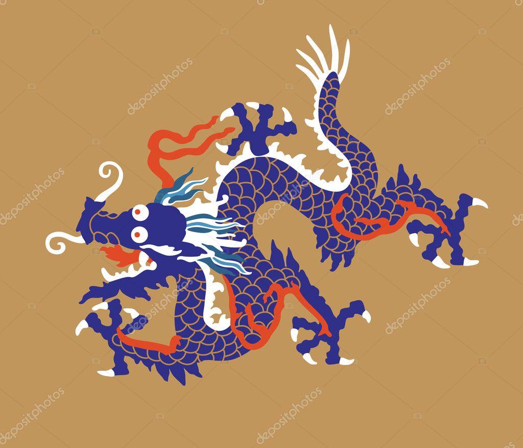Homem Asiatico Do Vetor Com Dragao Chines Ilustracao Colorida Dos ...
