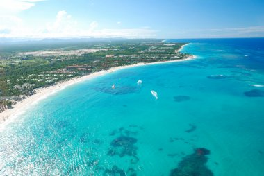 Caribbean beach aerial view
