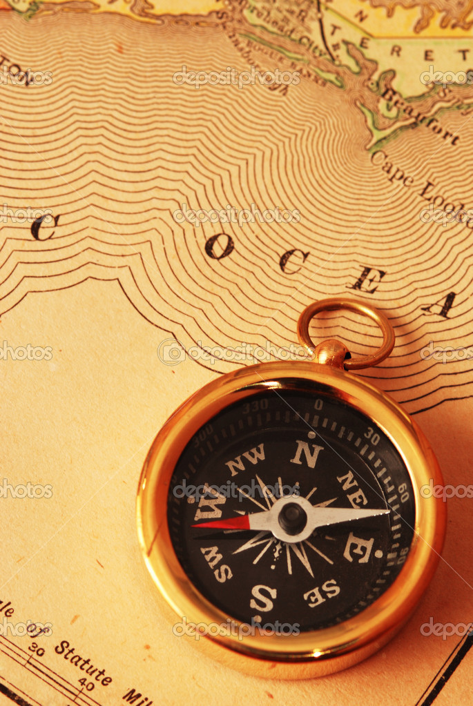 Antique Brass Compass Over Old USA Map Stock Photo Haveseen - Old us map background