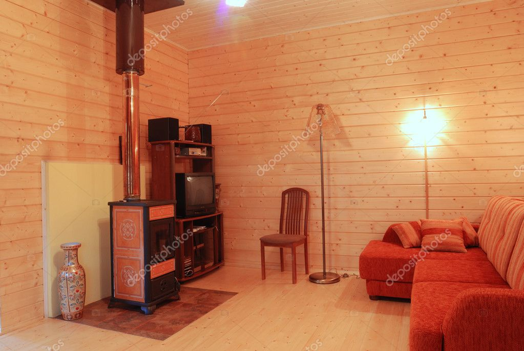 Wooden room luxury rural interior