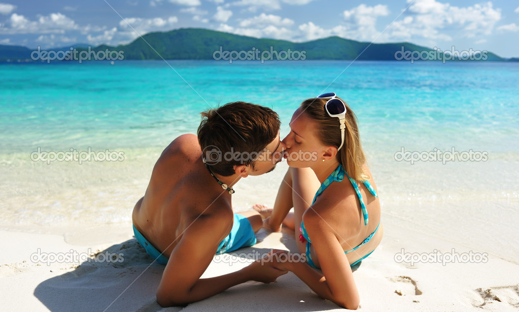 Kiss on a beach