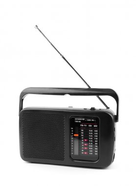 Black old radio on a white background. stock vector