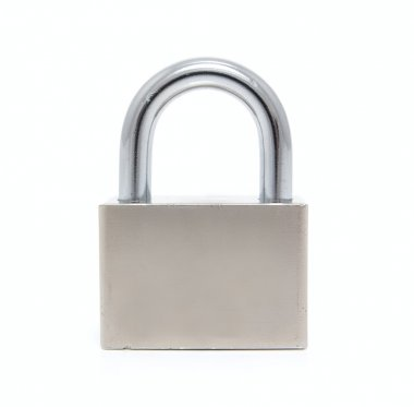 Steel padlock on a white background. Close-up. Macro stock vector