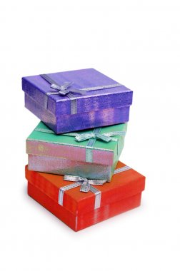 Three gift boxes isolated on the white b