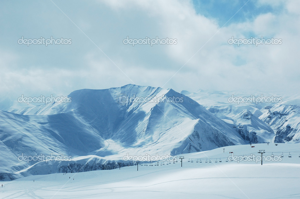 Winter landscape with mountains and snow