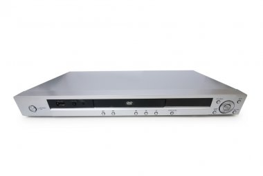 Silver DVD player isolated