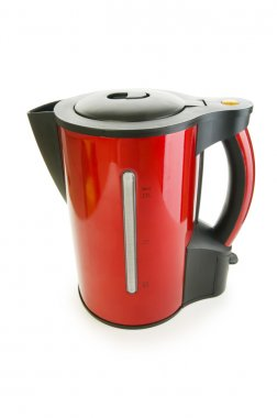 Red electrical kettle isolated