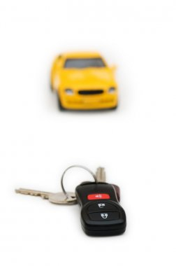 Car keys and car at background isolated on white stock vector