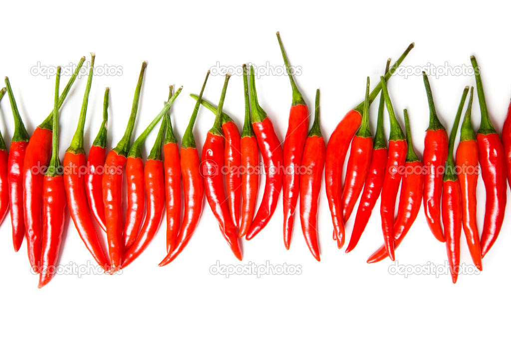 Red chili peppers isolated