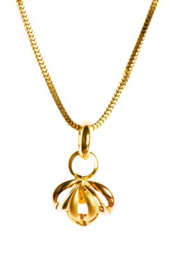 Pendant on golden chain isolated