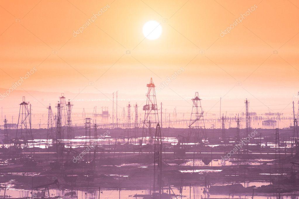 Oil derricks on morning - Caspian see