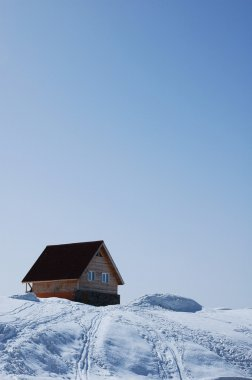 Lonely house in bright sunny day