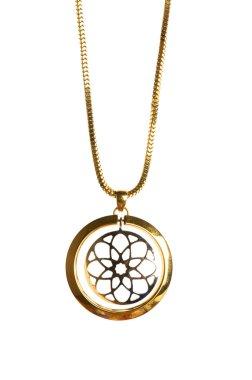 Pendant on golden chain isolated