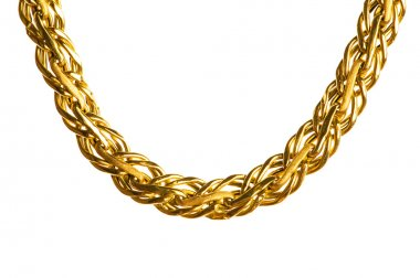 Golden chain isolated on the white