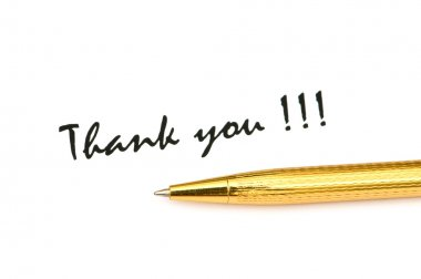 Thank you message and pen isolated