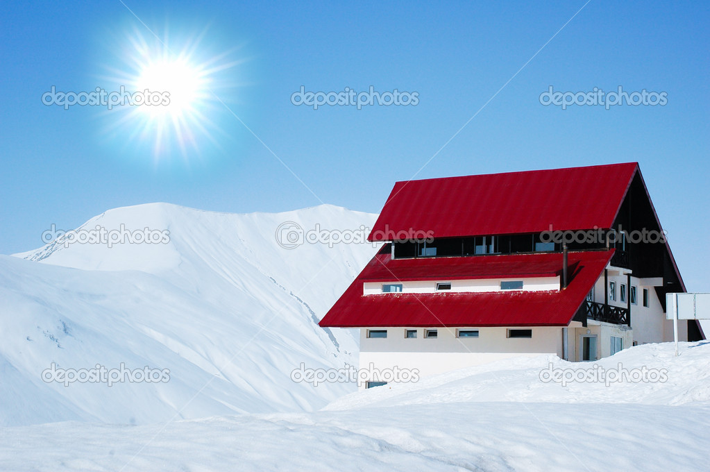 Lonely house in bright winter day
