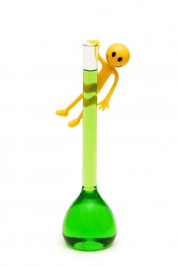 Smilies holding green tube isolated