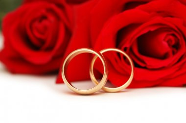 Two wedding rings and red roses