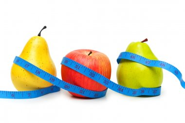 Pears and apple illustrating dieting