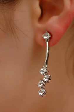 Earring with diamonds on the woman ear