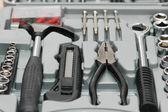 Fotografie sada nástrojů s různými nástroji Tesař