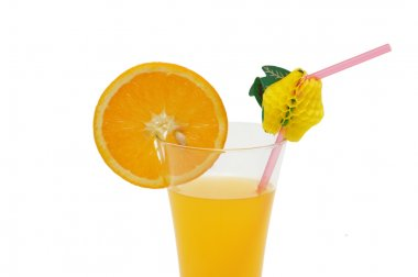 Orange and juice isolated on the white stock vector
