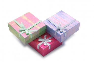 Three gift boxes isolated on the white