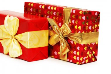 Two gift boxes isolated on the white