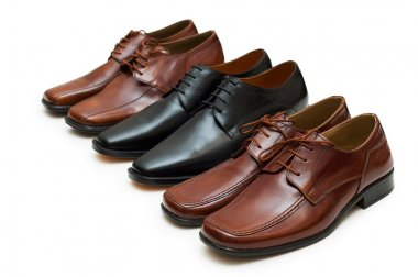 Various male shoes isolated